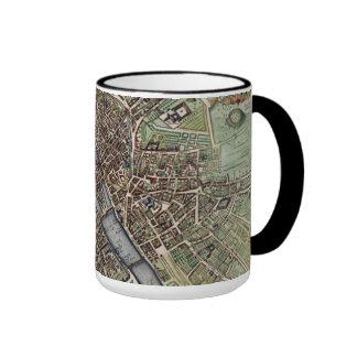 Vintage Map of Paris Ringer Coffee Mug