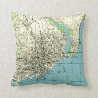 Vintage Map of Pensacola Florida (1944) Throw Pillow