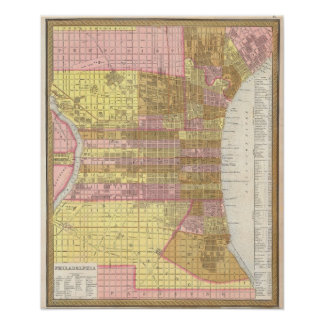 Vintage Map of Philadelphia (1846) Poster