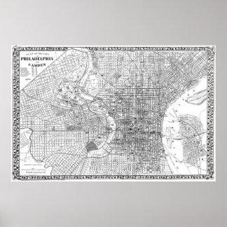 Vintage Map of Philadelphia Pennsylvania (1876) BW Poster