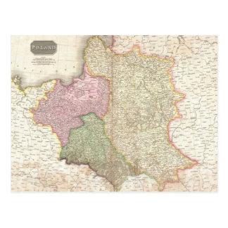 Vintage Map of Poland (1818) Postcard