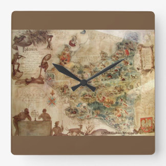 VINTAGE MAP OF POLAND SQUARE WALL CLOCK