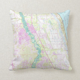Vintage Map of Port St Lucie Florida (1948) Throw Pillow