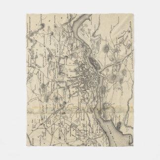 Vintage Map of Porto Portugal (1835) Fleece Blanket
