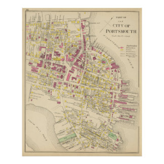 Vintage Map of Portsmouth NH (1892) Poster