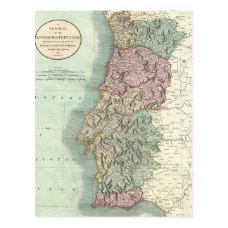 Vintage Map of Portugal (1801) Postcard