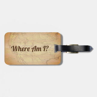 Vintage map of Railroad Lines with Funny Text Luggage Tag