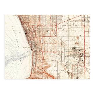 Vintage Map of Redondo Beach & Torrance CA (1934) Postcard