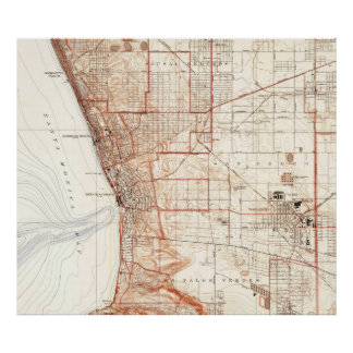 Vintage Map of Redondo Beach & Torrance CA (1934) Poster