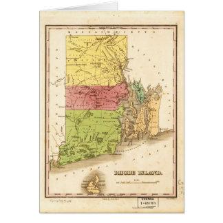 Vintage Map of Rhode Island (1829) Card