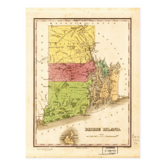 Vintage Map of Rhode Island (1829) Postcard