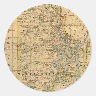 Vintage Map of Rhode Island (1875) Round Sticker