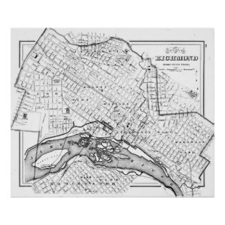 Vintage Map of Richmond Virginia (1884) BW Poster