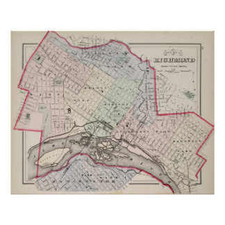 Vintage Map of Richmond Virginia (1884) Poster