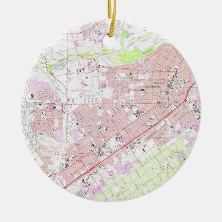 Vintage Map of Riverside California (1967) 2 Ceramic Ornament