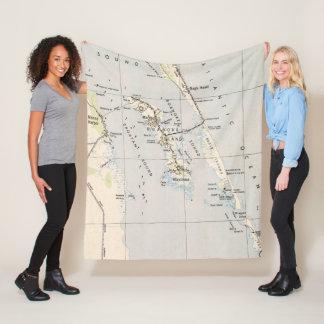 Vintage Map of Roanoke Island & Outer Banks NC Fleece Blanket