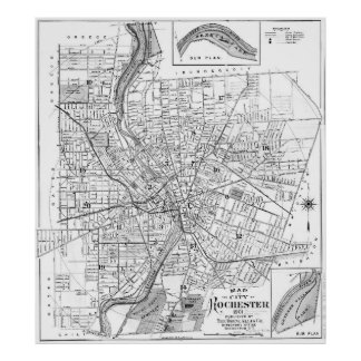 Vintage Map of Rochester NY (1901) BW Poster