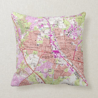 Vintage Map of Rockville Maryland (1965) Throw Pillow