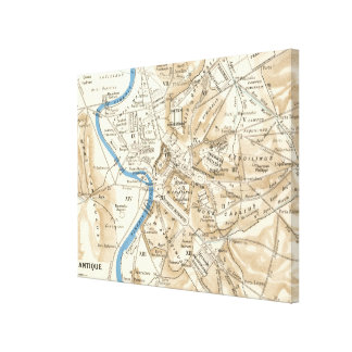 Vintage Map of Rome Italy (1870) Canvas Print
