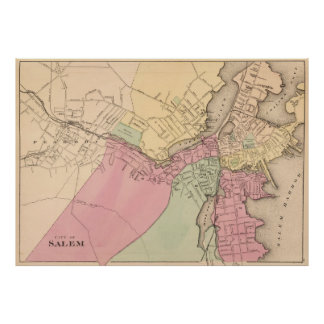 Vintage Map of Salem Massachusetts (1871) Poster