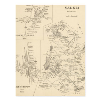 Vintage Map of Salem Massachusetts (1892) Postcard
