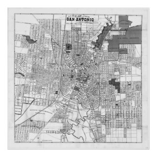 Vintage Map of San Antonio Texas (1909) BW Poster