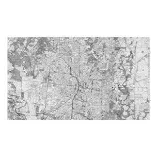 Vintage Map of San Antonio Texas (1953) BW Poster