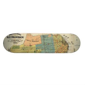Vintage Map of San Francisco (1890) Skate Boards