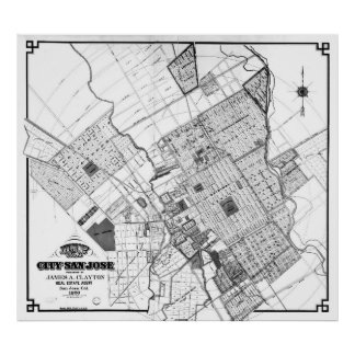 Vintage Map of San Jose California (1886) BW Poster