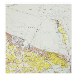 Vintage Map of Sandy Hook NJ (1954) Poster