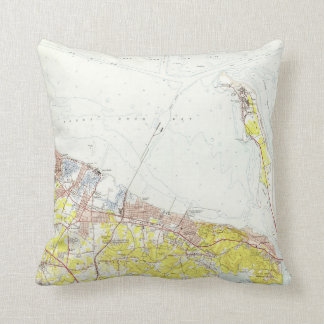 Vintage Map of Sandy Hook NJ (1954) Throw Pillow
