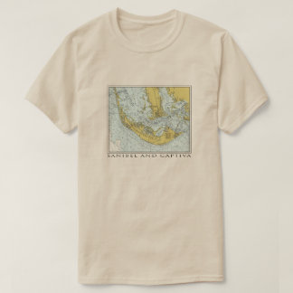 Vintage map of Sanibel Captiva Island Florida T-Shirt