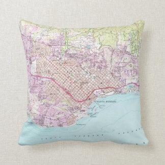 Vintage Map of Santa Barbara California (1952) Throw Pillow