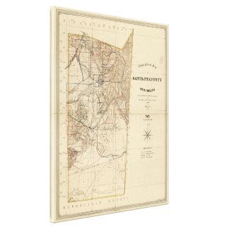 Vintage Map of Santa Fe County NM (1883) Canvas Print