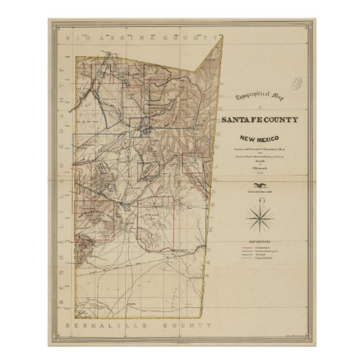 Vintage Map of Santa Fe County NM (1883) Poster