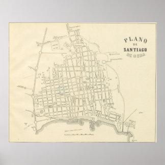 Vintage Map of Santiago de Cuba (1899) Poster