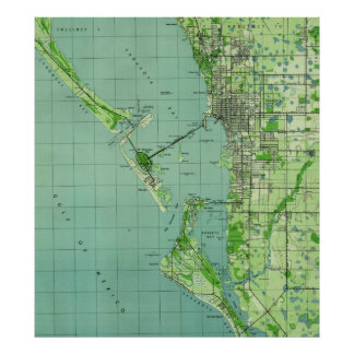 Vintage map of Sarasota Florida (1944) Poster