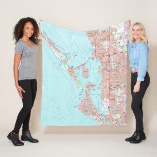 Vintage Map of Sarasota Florida (1973) Fleece Blanket