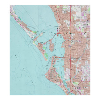 Vintage Map of Sarasota Florida (1973) Poster