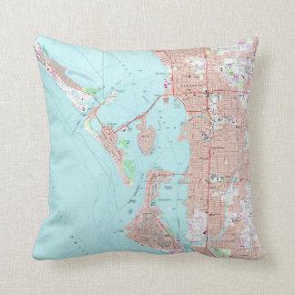 Vintage Map of Sarasota Florida (1973) Throw Pillow