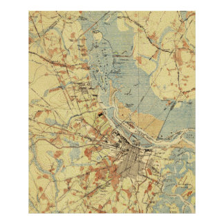 Vintage Map of Savannah Georgia (1942) Poster