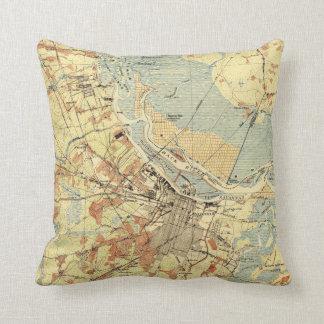 Vintage Map of Savannah Georgia (1942) Throw Pillow