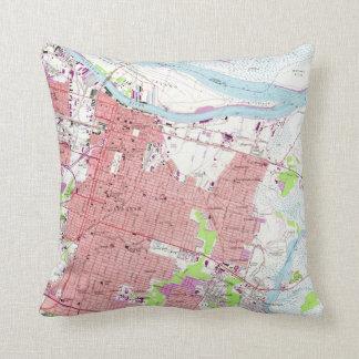 Vintage Map of Savannah Georgia (1955) 2 Throw Pillow