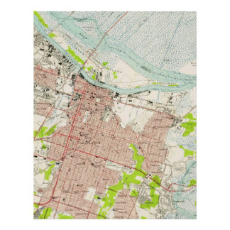 Vintage Map of Savannah Georgia (1955) Poster