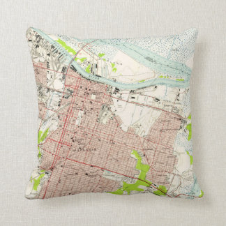 Vintage Map of Savannah Georgia (1955) Throw Pillow