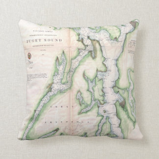 Vintage Map of Seattle and Puget Sound Throw Pillow