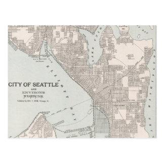Vintage Map of Seattle Washington (1901) Postcard