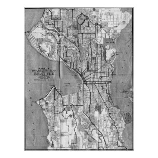 Vintage Map of Seattle Washington (1914) BW Poster