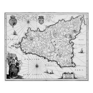 Vintage Map of Sicily Italy (1600s) BW Poster