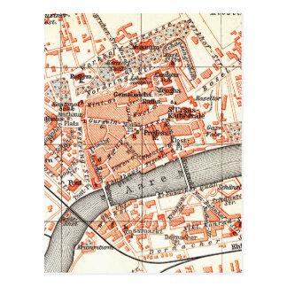 Vintage Map of Solothurn Switzerland (1913) Postcard